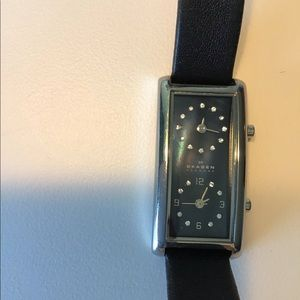 Skagen Duel Face Watch w/ Leather Band